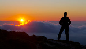Hiking and sunset on Mount Jaizkibel, Gipuzkoa Stock Images