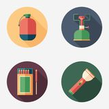 Hiking and survival flat round icon set. Set of colorful detailed and realistic flat design style icons Royalty Free Stock Photography