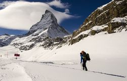 Hiking in Swiss Alps Royalty Free Stock Photos
