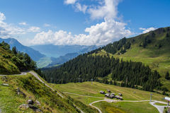 Hiking in Swiss Alps. Hiking and beautiful panorama from Swiss Alps. Hasliberg region Royalty Free Stock Image