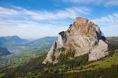 Hiking in swiss alps. Hiking in the swiss alps: Ibergereg, mount Mythen Stock Image