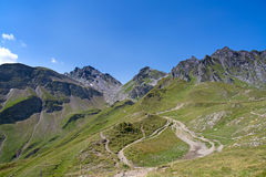 Hiking in swiss alps Stock Photos