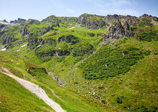 Hiking in swiss alps. Hiking in the swiss alps: road near Pizol Stock Images