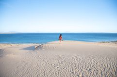 Hiking on tarifa sand dunes Royalty Free Stock Photography