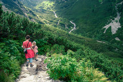 Hiking in the Tatra Mountains. Mom and daughter hiking in the Tatra Mountains Royalty Free Stock Photography