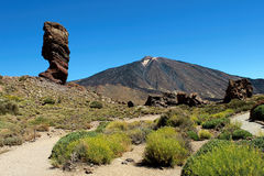 Hiking in the Teide National Park in Tenerife Canary Islands, Spain, Europe Royalty Free Stock Images