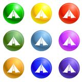 Hiking tent icons set vector stock illustration