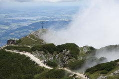 Hiking though the fog. Hiking through the Bavarian Alps of Southern Germany Royalty Free Stock Photos