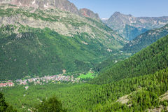 Hiking to Argentiere glacier with the view on the massif des Aiguilles Rouges in French Alps stock photos