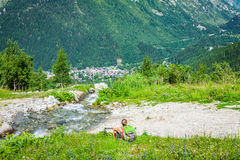 Hiking to Argentiere glacier with the view on the massif des Aig Stock Image