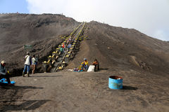 Hiking to the crater of Mount Bromo. People hiking to the crater of Mount Bromo and the local selling the dried flower along the way stock images