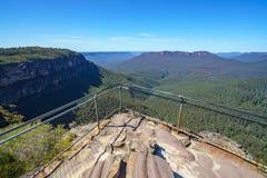 Hiking to elysian rock lookout, blue mountains, australia 5. Hiking to elysian rock lookout, prince henry cliff walk, blue mountains national park, australia stock image