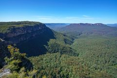 Hiking to elysian rock lookout, blue mountains, australia 1. Hiking to elysian rock lookout, prince henry cliff walk, blue mountains national park, australia stock photo