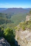 Hiking to elysian rock lookout, blue mountains, australia 8. Hiking to elysian rock lookout, prince henry cliff walk, blue mountains national park, australia stock photo