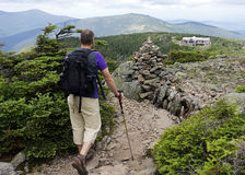 Hiking to Greenleaf Hut on Appalachian Trail. The Appalachian Mountain Club's Greenleaf Hut is situated on a high peak along the Appalachian Trail near Mount Royalty Free Stock Images