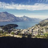 Hiking to a lookout over Queenstown, New Zealand royalty free stock images