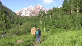 Hiking to the Maroon Bells stock video
