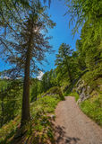 Hiking to Matterhorn, top of Swiss alps. Stock Photo