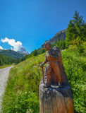 Hiking to Matterhorn, top of Swiss alps. Stock Images