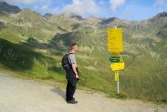 Hiking to mountain Furgler Royalty Free Stock Image