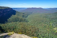 Hiking to olympian rock lookout, blue mountains, australia 5. Hiking to olympian rock lookout, prince henry cliff walk, blue mountains national park, australia royalty free stock images