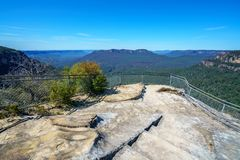 Hiking to olympian rock lookout, blue mountains, australia 2. Hiking to olympian rock lookout, prince henry cliff walk, blue mountains national park, australia stock photo