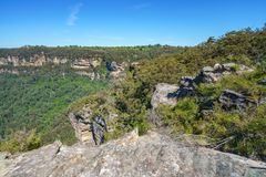 Hiking to olympian rock lookout, blue mountains, australia 3. Hiking to olympian rock lookout, prince henry cliff walk, blue mountains national park, australia stock photography