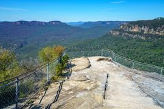 Hiking to olympian rock lookout, blue mountains, australia 1. Hiking to olympian rock lookout, prince henry cliff walk, blue mountains national park, australia royalty free stock photos