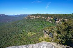 Hiking to olympian rock lookout, blue mountains, australia 8. Hiking to olympian rock lookout, prince henry cliff walk, blue mountains national park, australia stock photography