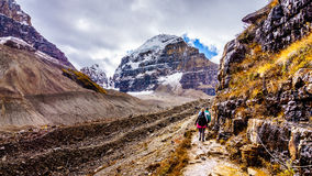 Hiking to the Plain of Six Glaciers Stock Images