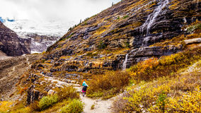 Hiking to the Plain of Six Glaciers Royalty Free Stock Images