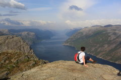 Hiking to Preikestolen Royalty Free Stock Photos