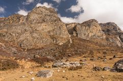 Hiking to Yala Velley. From Village of Kyangjin Gompa. Langtang Valley Trek. Nepal royalty free stock photography