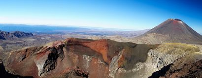 Hiking of Tongariro alpine crossing, view of Mt. Doom Mount Ngauruhoe and Red crater, New Zealand. Dramatic view of Red crater and Mt. Doom volcano known from stock image