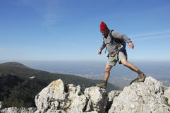 Hiking on the top of a mountain Royalty Free Stock Photos