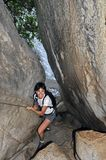 Hiking in Torrent de Pareis Canyon Stock Image