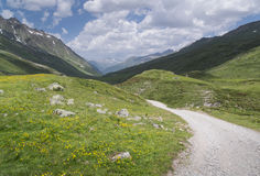 Hiking track in the Alps with mountains in Fimbatal from Ischgl to Heidelberger Hut Royalty Free Stock Images