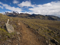 Hiking trail. A hiking trail in Iceland. A Glacier in the background Stock Images