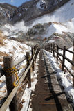 Hiking trail. A snowy, frosty winter wooden hiking trail stock photography