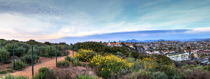 Hiking trail above Dana Point city view at sunset. In Southern California, USA stock photo