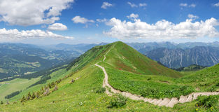 Hiking trail in the Allgau Alps. Hiking trail in the mountain landscape of the Allgau Alps on the Fellhorn ridge from the Fellhorn towards Soellereck. On the Stock Image