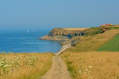 Hiking trail along a field with flowers towards a cliff of the French Opal North sea coast. Sandy hiking trail along a field with flowers towards cliffs of the stock photos
