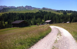 Hiking trail, Alpe di Siusi, Italy Stock Image