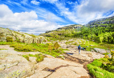 Hiking trail and alpine landscape of the Preikestolen. And Lysefjord area in Rogaland, Norway Stock Images