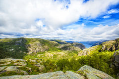 Hiking trail and alpine landscape of the Preikestolen. And Lysefjord area in Rogaland, Norway Royalty Free Stock Images