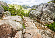 Hiking trail and alpine landscape of the Preikestolen Stock Images