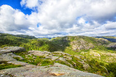 Hiking trail and alpine landscape of the Preikestolen. And Lysefjord area in Rogaland, Norway Stock Photography