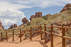 Hiking trail in Arches state park Stock Photos