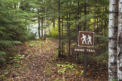 Hiking trail around Divide Lake in the Superior National Forest stock photography