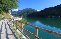 Hiking trail around Lake Ledro in Italy Royalty Free Stock Photo
